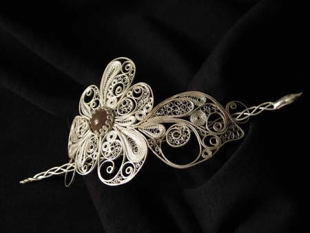Hairpiece- fine silver, sterling silver, enameled copper