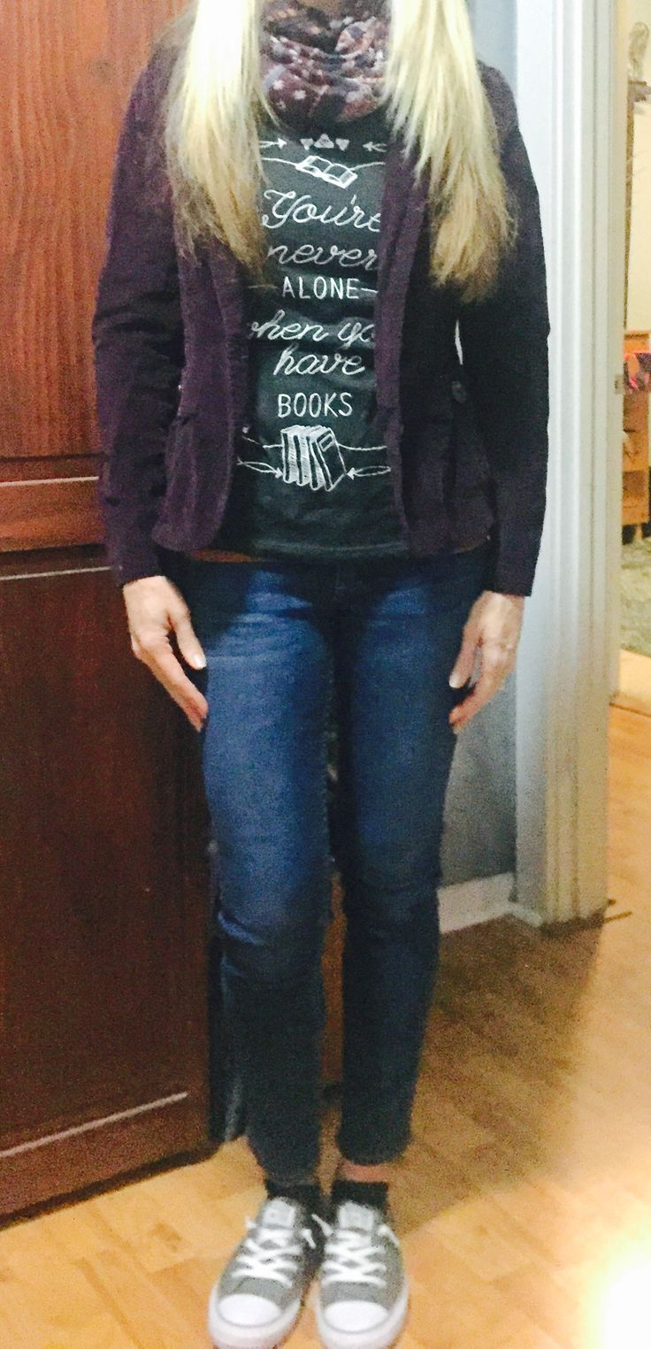 Tshirt, burgundy jacket, jeans,  grey converse outfit