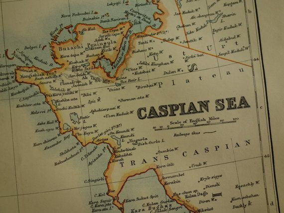 CASPIAN SEA map 1895 original old map of the by VintageOldMaps