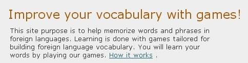 Improve your vocabulary with games! This site purpose is to help memorize words …