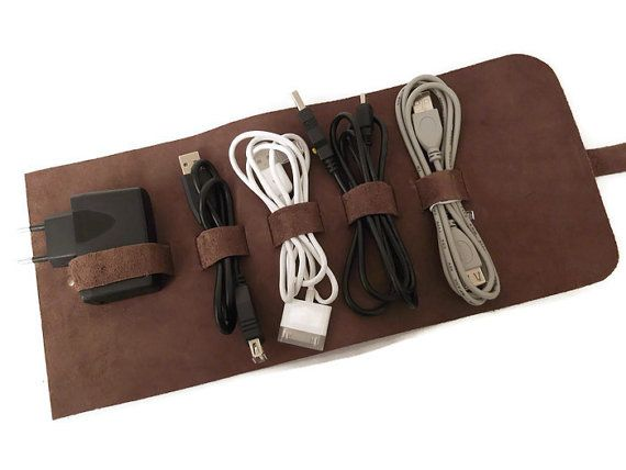 Leather Cable Holder Cable Organizer Cord Wrap Travel by feltapp