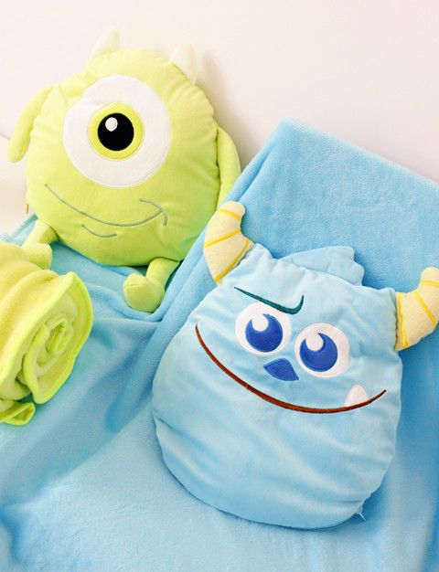 Monsters Inc Mike Wazowski Sulley Flannel Throw Pillow