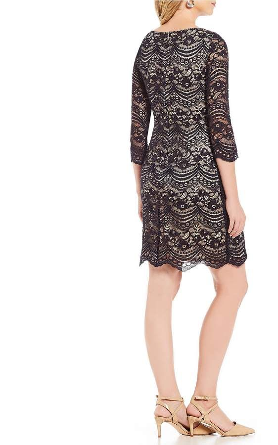 b5c7cc705b74 Jessica Howard 3/4 Sleeve Lace Shift Dress #Sleeve#Howard#Jessica ...