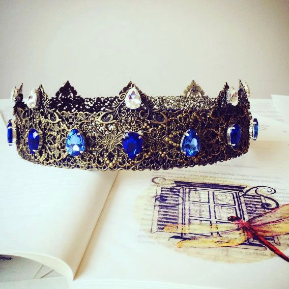 Medieval Crown Blue, Renaissance Crown, Custom Wedding, Blue Bridal Crown, Tudor #Handmade #HatsHeadwear