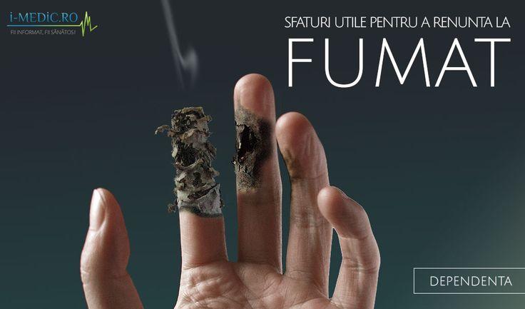 Cu siguranta ca fiecare dintre fumatori a incercat macar o data in viata sa renunte la fumat, moment in care a aflat pe propria piele ca organismul resimte lipsa tutunului mult mai acut decat s-ar fi asteptat. Tocmai de aceea in momentul in care decideti sa renuntati definitiv la tigari este nevoie sa va inarmati cu multa disciplina si rabdare, insa cel mai important, cu hotarare -  http://www.i-medic.ro/tutun-alcool-droguri/sfaturi-utile-pentru-renunta-la-fumat