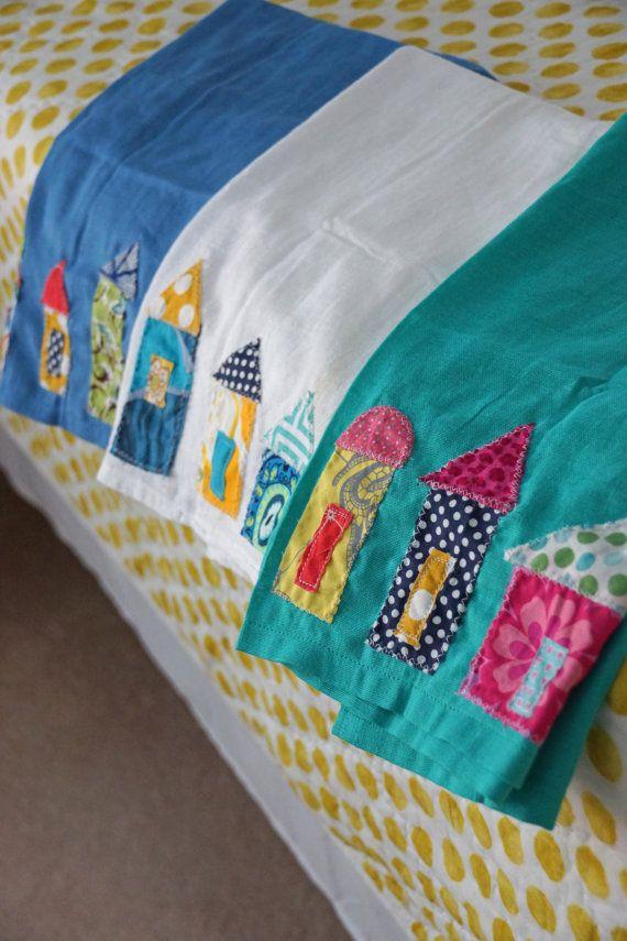 Teal Little Village Flour Sack Appliqued  Tea Towel