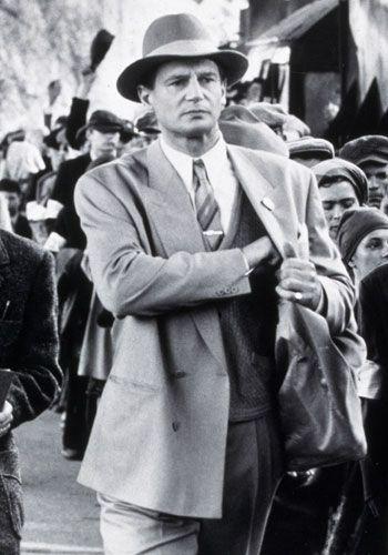 Schindler's List (1993), Liam Neeson, male actor, portrait, photo b/w.