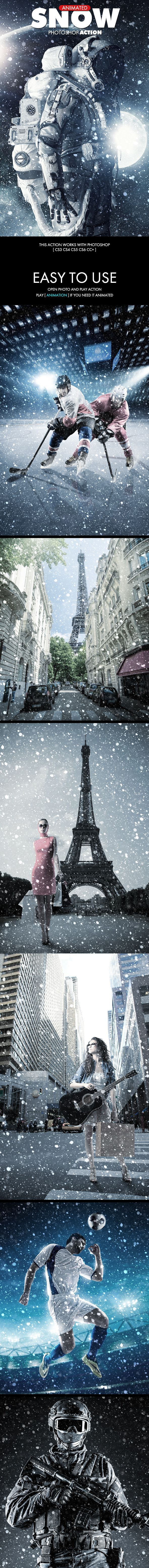 Snow Photoshop Action  Animated — Photoshop ATN #ice #snow • Available here ➝ https://graphicriver.net/item/snow-photoshop-action-animated/20693215?ref=pxcr