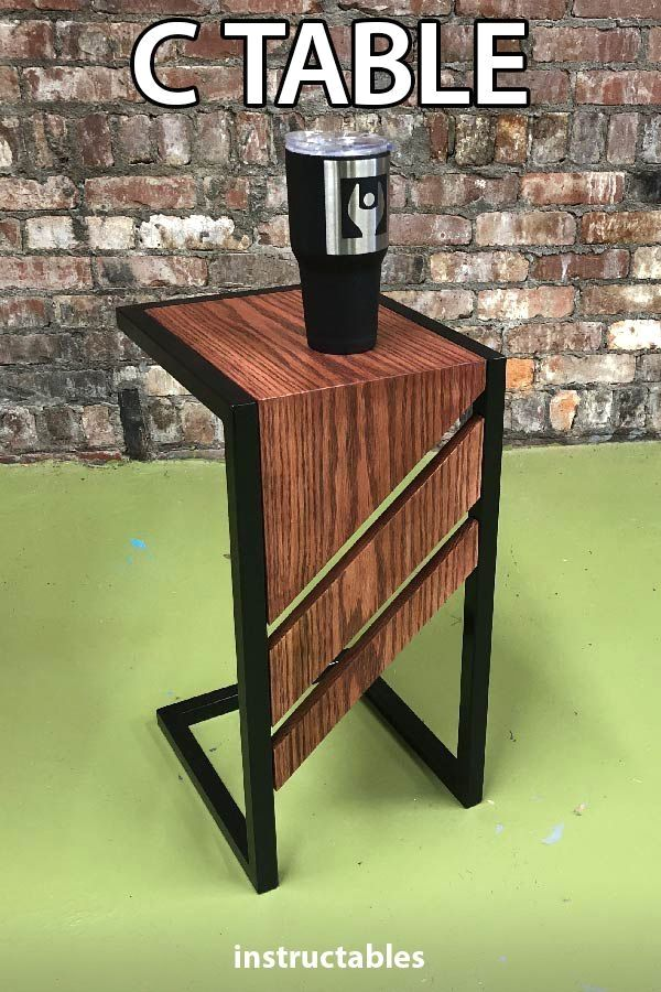 C Table Diy Slide Under Sofa Or End Table Welding And Wood Project My Wife Has B Vintage Industrial Furniture Industrial Design Furniture Rustic Furniture