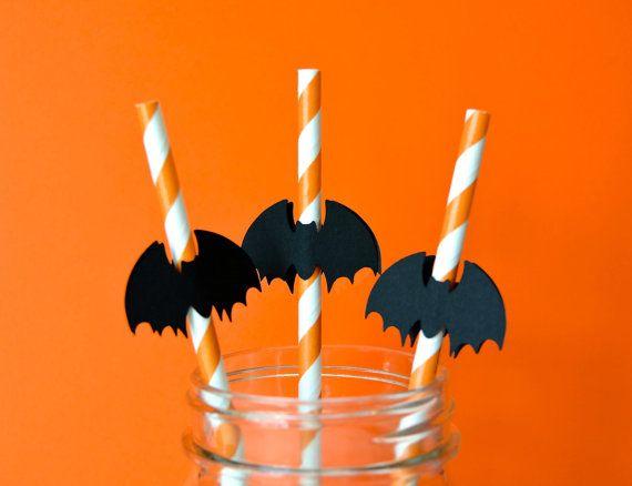 Halloween Bat Party Straws