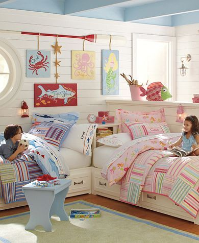 Boy Girl Shared Kids Room Corner Bed With Hutch Under Bed Storage Drawers Nautical Theme Bunk Bed Alternative