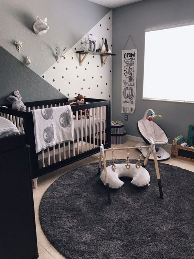 monochromatic nursery / color blocked wall / black white & grey
