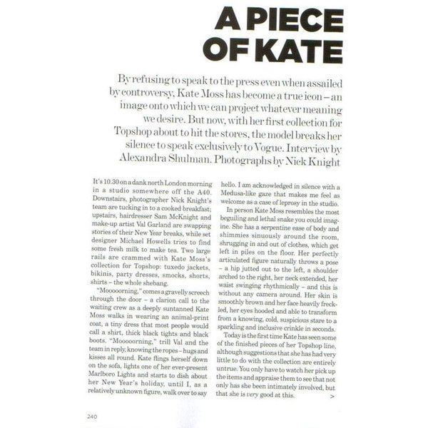 Preview of Kate Moss for Topshop Collection | nitrolicious.com ❤ liked on Polyvore featuring text, backgrounds, words, articles, magazine, quotes, phrase and saying