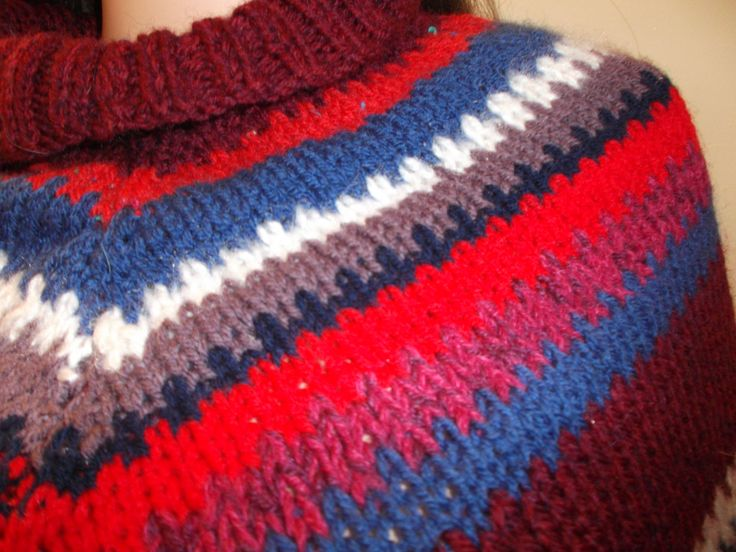 Retro style hand knitted poncho using up-cycled yarn in red, wine, heather, white, blue and more. Light weight but cosy warm by Stitchesincolour on Etsy