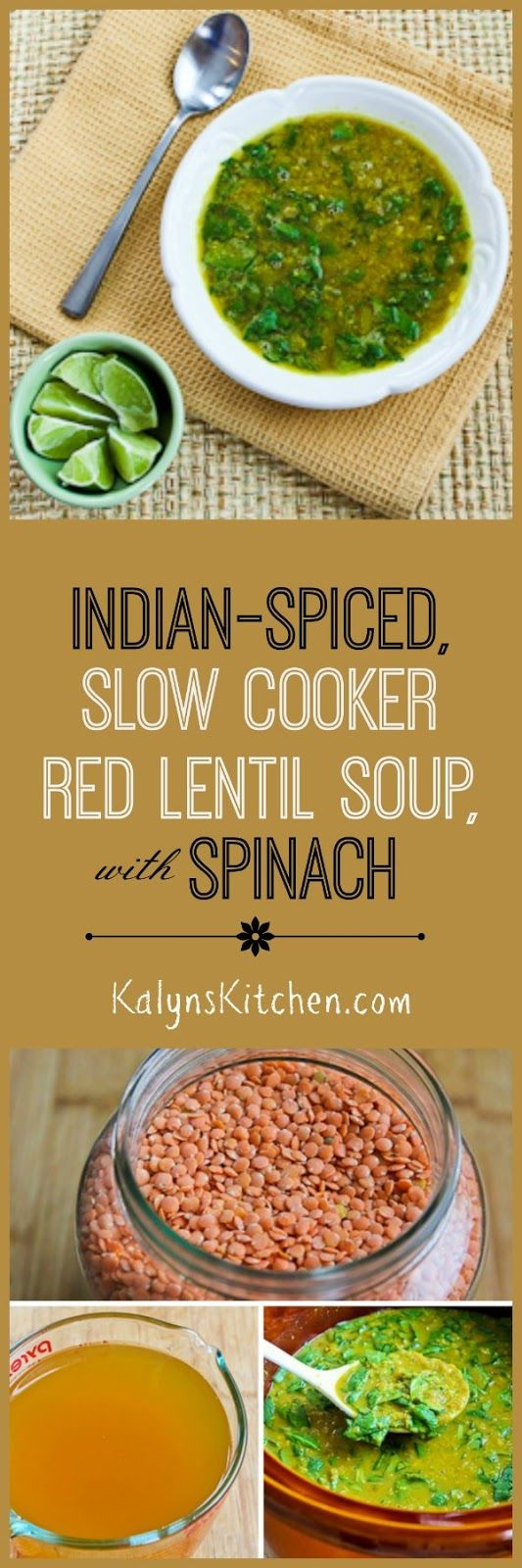 Indian-Spiced Slow Cooker Red Lentil Soup with Spinach and ...