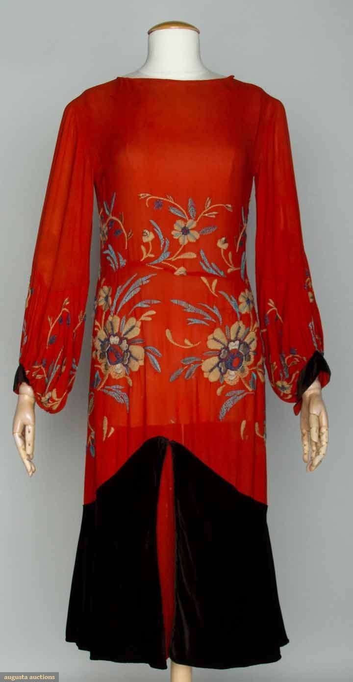JEAN PATOU EVENING ENSEMBLE, LATE 1920s  Red chiffon dress & chocolate brown silk velvet coat: drop waist dress, brown velvet flared hem flounce, the red chiffon embroidered in wool yarn & glass beads in floral design, balloon sleeves