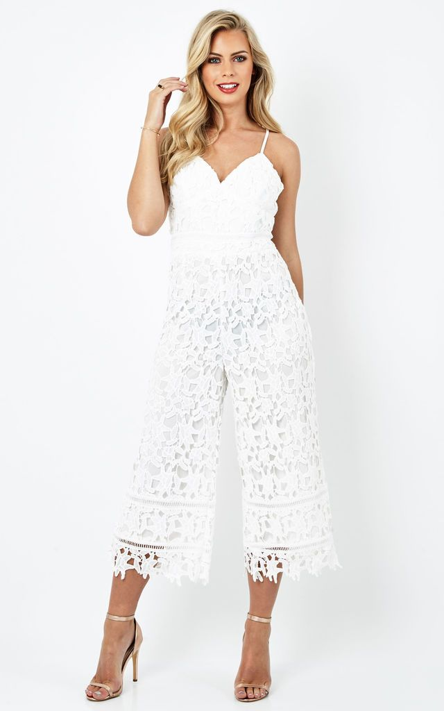 Liquorish White Lace Jumpsuit With Thin Should... - SilkFred