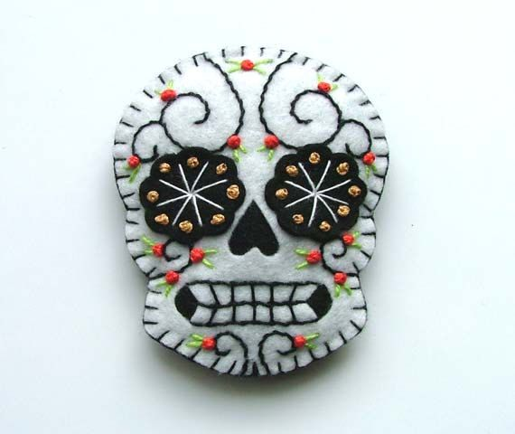Day of the Dead Brooch Sugar Skull Boutonniere