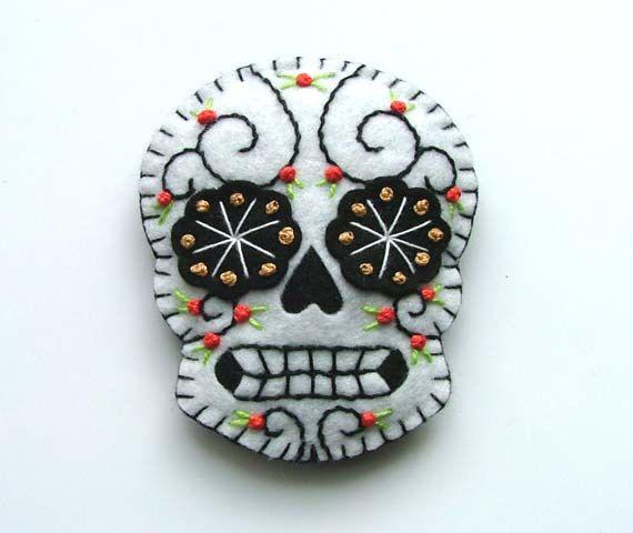 Day of the Dead Hair Clip Mexican Sugar Skull Tattoo Design. $15.00, via Etsy.