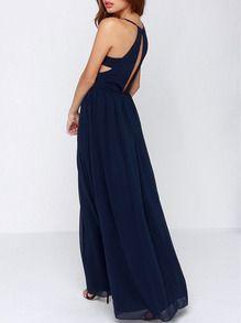 Vestido largo con tirante-azul marino