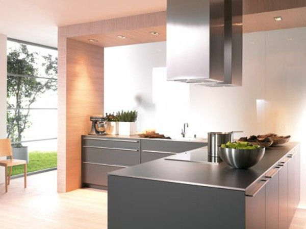 Minimalist kitchen contrast colours of wooden plate grey Cabinet