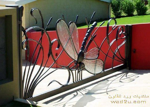 Dragonfly Gate - note the slant from top left to top right to fit fence height & lower retaining wall. <3 details #wroughtiron #art