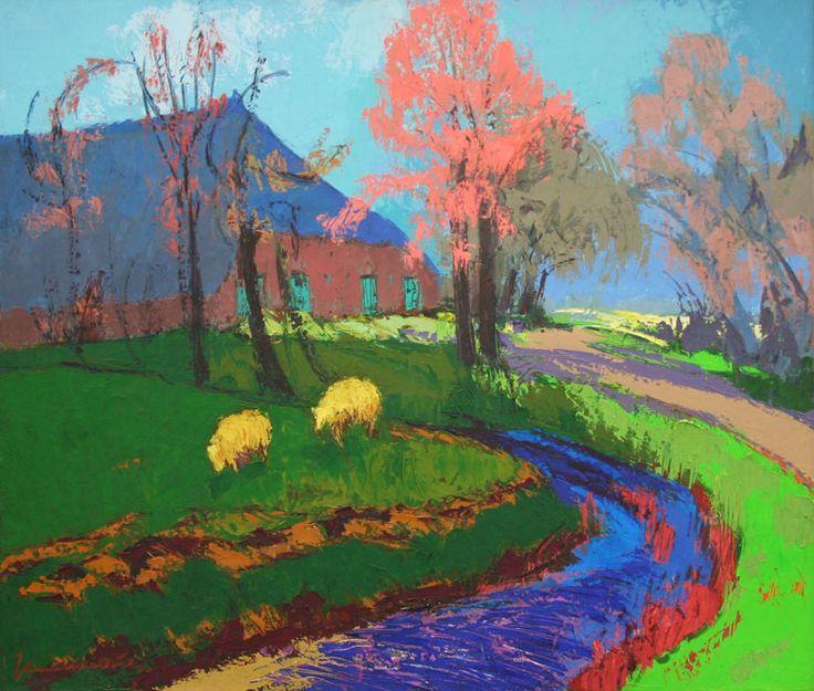 Jannes De Vries (1901-1986) Pas in de jaren vijftig werd De Vries alsnog gegrepen door het expressionisme uit de hoogtijdagen van De Ploeg. Toen ontstonden reeksen tekeningen en schilderijen in een ongekend heftig kleurgebruik. Dit schilderij 'Boerderij Melkema bij Huizinge' uit 1974 is daarvan een sprekend voorbeeld.  Jannes de VriesJarenlang huurde Jannes de Vries in de zomermaanden een arbeiderswoning in Huizinge. In veel van zijn werk komt dit dorpje of het omringende land voor.