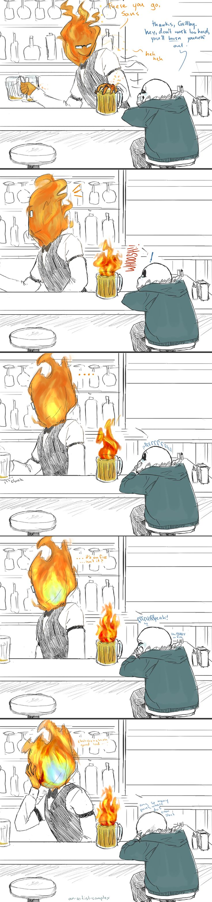 grillby men Two grown men falling to pieces like a pair of very large children and camping out in her living room  grillby would not and could not wait for the anniversary .