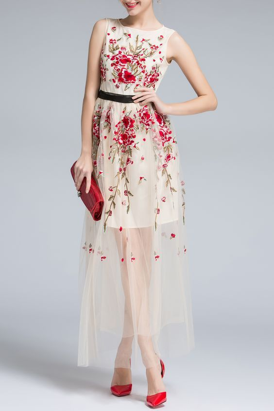 Floral Embroidery Sleeveless Voile Maxi Dress