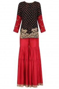 Black Floral Bootis Short Kurta and Red Flared Skirt Set #aditisomani #ethnic #shopnow #perniaspopupshop #happyshopping