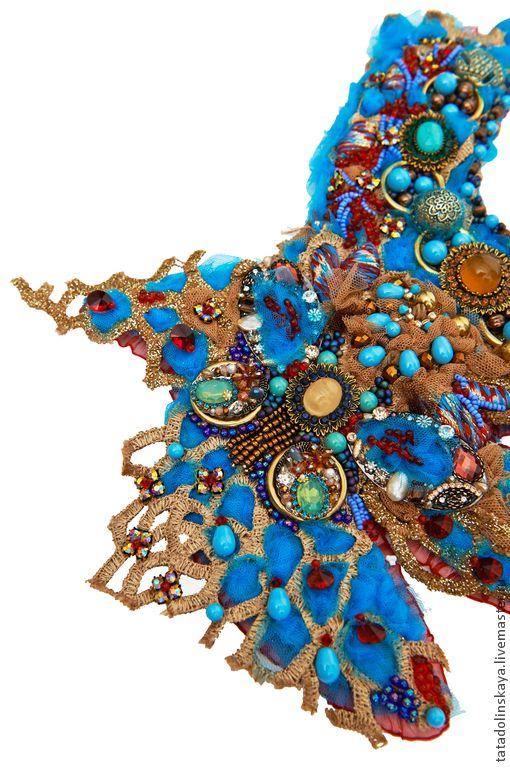 Купить Колье-коллаж №65 Бирюзовая пряность - бирюзовый, красный, разноцветный, колье-коллаж, бохо