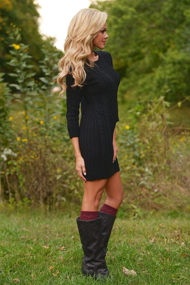 All Of Your Attention Sweater Dress - Black from Closet Candy Boutique #fashion #shop