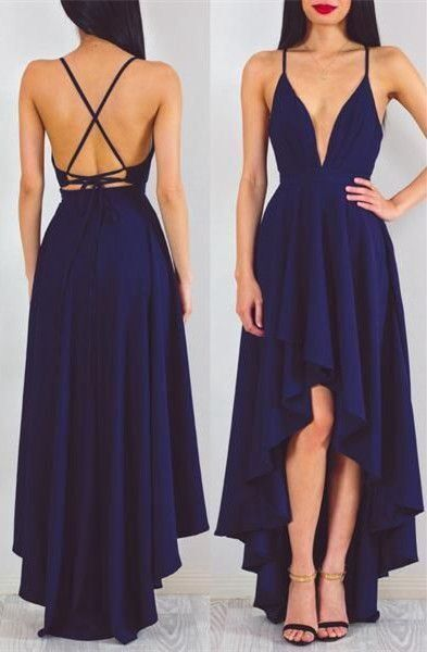 Backless prom dress, high low prom dress, cute navy blue chiffon prom dress with straps