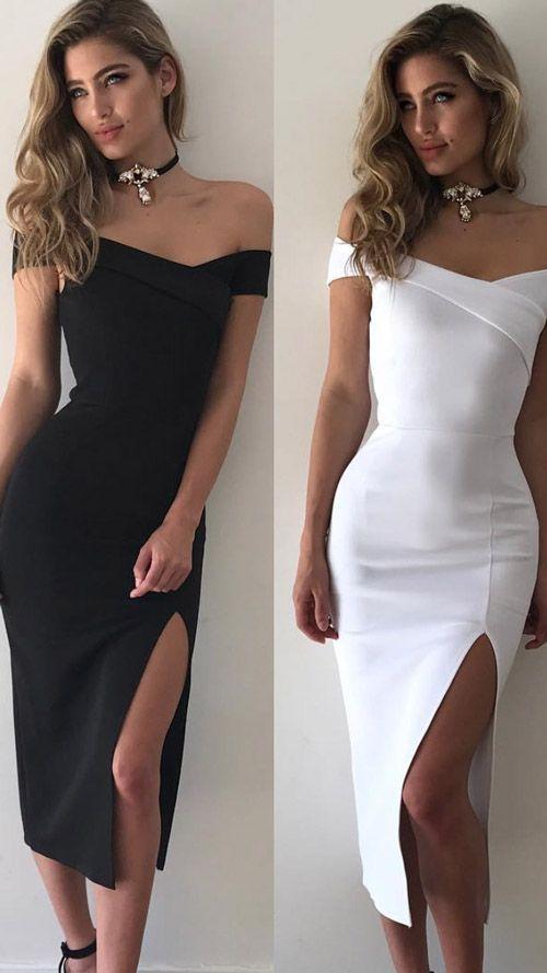 Vestido Midi Ombro A Ombro Com Fenda para Festa Preto Branco | UFashionShop