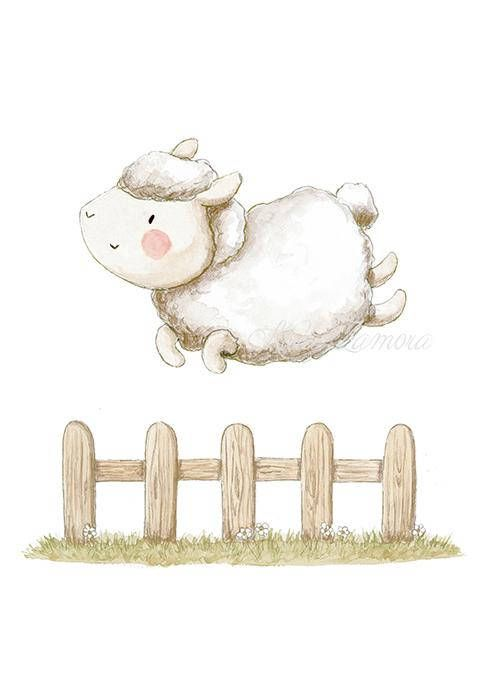 Nursery Art LITTLE LAMB JUMPING, Art Print, Art fot babies, Lamb Nursery print, Nursery lamb, Nursery wall art, Watercolor lamb, Aida Zamora