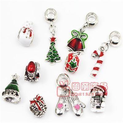 DIY饰品配件手链大孔珠水晶琉璃珠子圣诞画油系列大孔珠子批发