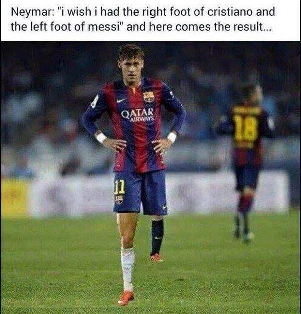 Oto rezultat życzenia Brazylijczyka • Neymar chciałby mieć prawą nogę Cristiano Ronaldo i lewą Messiego • Wejdź i zobacz więcej >> #neymar #football #soccer #sports #pilkanozna