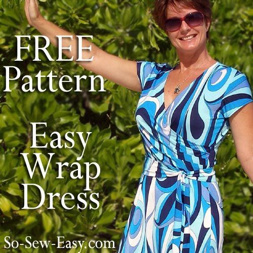 Free wrap dress pattern for knit fabrics. Easy sewing pattern for this flattering wrap dress. Multi-size pattern and full photo instructions. You need it!
