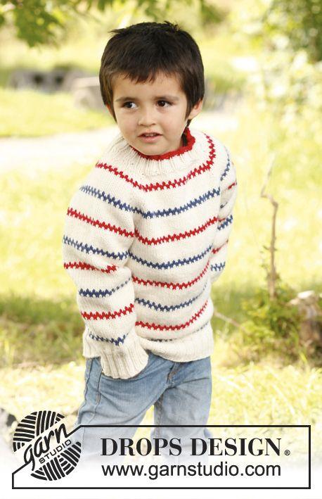 Gebreide DROPS trui met raglan, wordt van boven naar beneden gebreid van Nepal. Maat 3 tot en met 12 jaar.  Gratis patronen van DROPS Design.