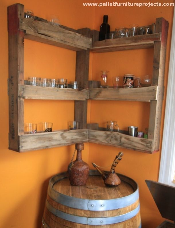 Cute These wooden pallet recycled shelves are specifically designed to be installed in the room corners