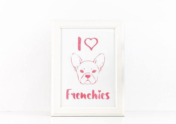 French Bulldog Svg Frenchie Mom Gift Printable I Love My Frenchie Decor Pink Watercolor Print Dog Lover Poster Pet Wall Art Puppy Home Art Paper Clip Art Pink Watercolor Watercolor Print