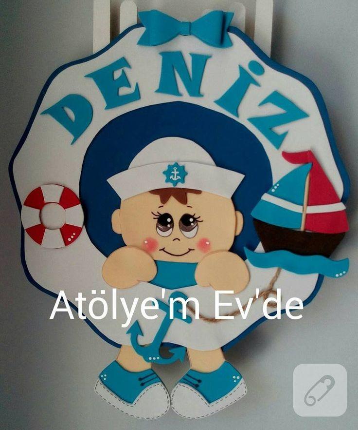 eva süngerinden yapılmış denizci temalı erkek bebek kapı süsü modeli gibi daha pek çok erkek ve kız bebek kapı ve duvar süsü modeli keçeden bebek odası süsleme....