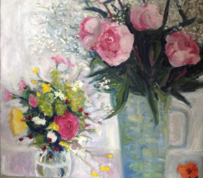 TINA BALMER. Garden flowers, peonies, nasturtium