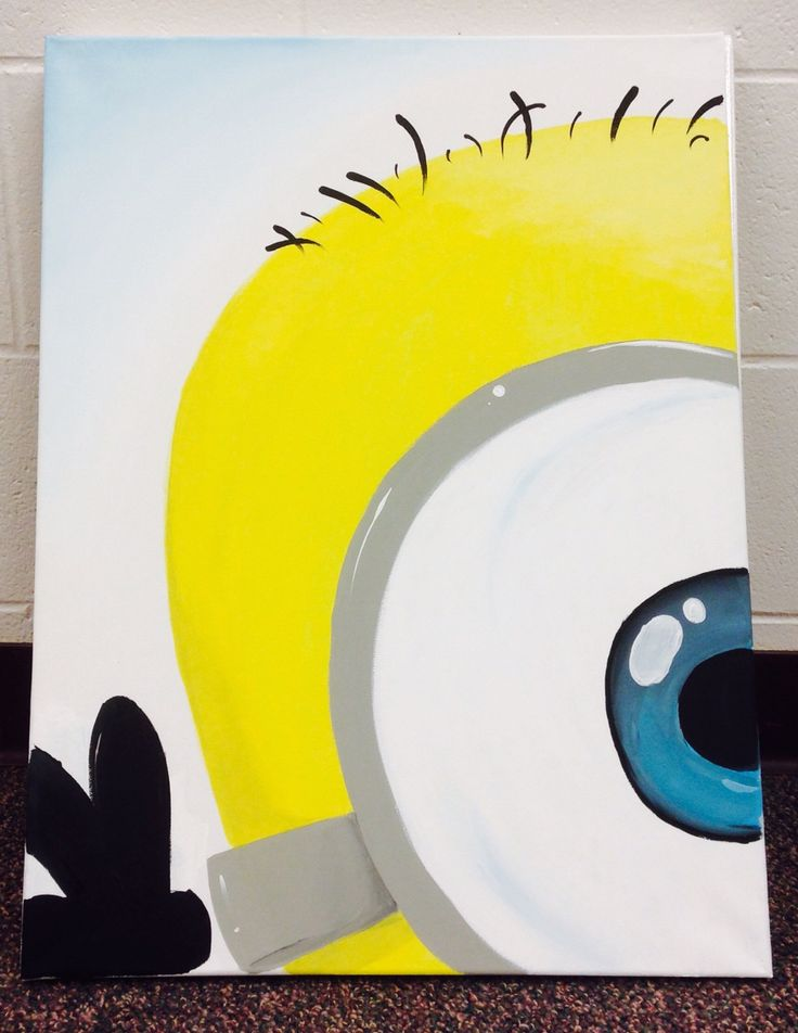 My friend made me a minion canvas to feed my minion obsession. She freehand painted it. Perks of having artistic friends! Love it