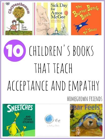 Children's books that teach acceptance and empathy ~Great for first week of school (or anytime). Free list.