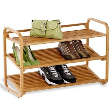 wood shoe shelf with a natural bamboo finish and 3 tiers with a slatted design product shoe shelf material wood color natural bamboo