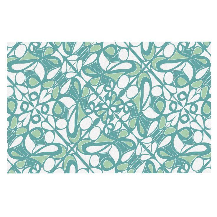"""Miranda Mol """"Swirling Tiles Teal"""" Decorative Door Mat"""