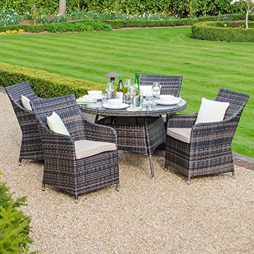 Zebrano   Lyon 4 Seat Outdoor Rattan Dining Set   1.2m Round Table   Brown Part 41