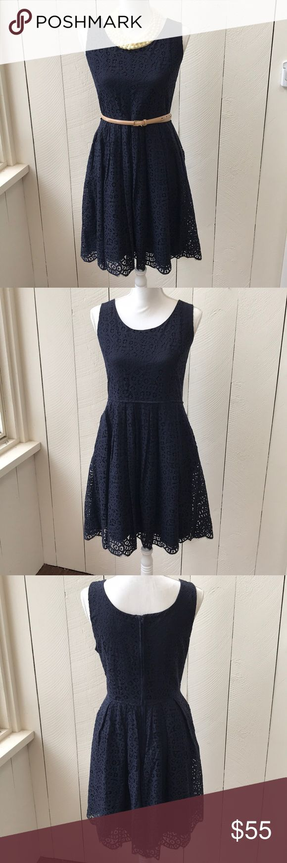 Navy Blue JCrew Lace Dress Size 14 Navy Blue Lacy JCrew Dress.  With Pockets!  True to size.  Gently worn condition with no signs of wear.  Can be dressed down for work or up for your next special occasion.  *Dress only for sale, no accessories included* J. Crew Dresses
