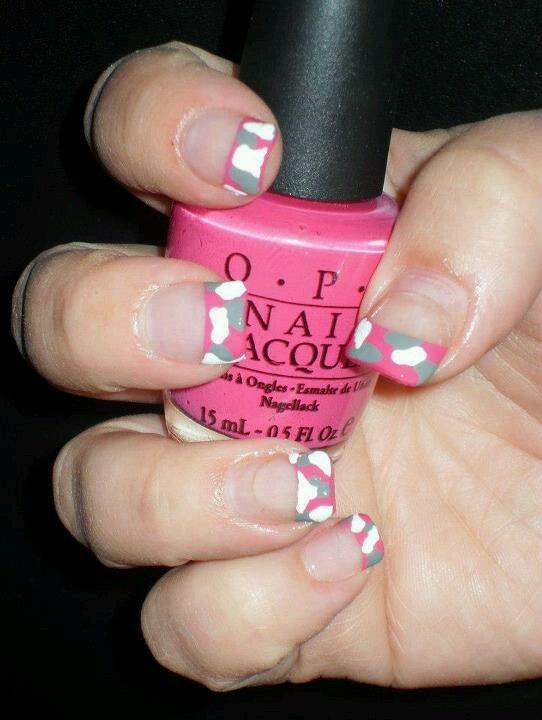 pink camo nail art......The